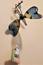 Flower Pot Hugger/Pot Percher- Blue/Yellow Insect Butterfly Patio Garden Decor
