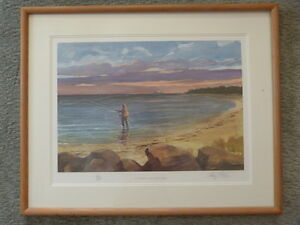 Ray Ellis Double Signed Original Print Derby FLY FISHING ON THE NORTH SHORE