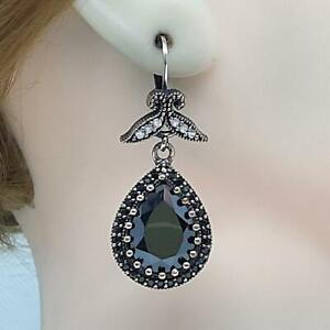 Deco 16.00ctw Spinel & Diamond Cut White Sapphire 14K Yellow Gold 925 Earrings