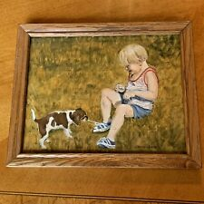 Boy With Puppy Dog Acrylic Painting On Wood Panel Signed Jeanna Kiwz Or Kiljz
