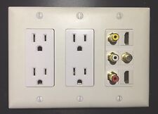 3 GANG HDTV Wall Plate 2x Power Outlet 2x HDMI Coax RCA Red White Yellow