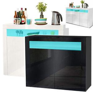 Large LED Sideboard 2 Door 3 Door High Gloss Cabinet Cupboard Buffet White Black