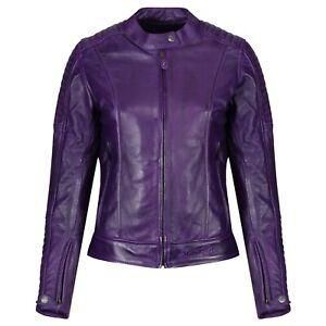 Motogirl Valerie Ladies Leather Motorcycle Motorbike CE AA Rated Jacket - Purple