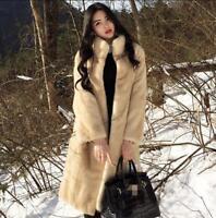 Womens Mink Fur Coat Long Overcoat Trench Jacket Parka Winter Warm Outwear New