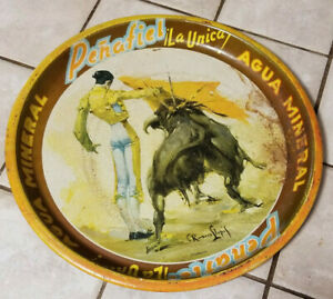 Vintage Advertising Tray Penafiel La Unica Agua Mineral - Bull Fighter AS FOUND