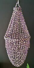 Shell Chandelier XL Bowl Purple Beads 30cm Diameter 85cm Drop NEW