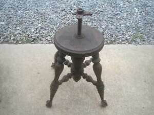 Antique VICTORIAN PIANO STOOL Glass Ball Claw Foot  Clawfeet ADJUSTABLE NO SEAT!
