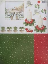 A4 3D Paper Tole with Printed 1/2 Sheet Christmas Candle Bird 3 Pictures