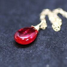 Smooth Briolette Wire Wrapped Ruby Pendant Solid 14K Yellow Gold 40th Anniversar