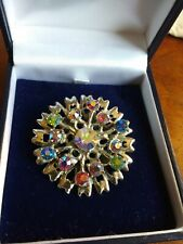 Vintage Silver Coloured Floral Brooch Pin Set With Aurora Borealis Rhinestones