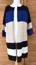 Ladies Esmara Long Line Colour block ribbed cardigan size 14 16 black beige