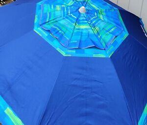 Tommy Bahama 7' Beach Umbrella 2018 Collection Blue Tropical Sand Sun Shade Tilt