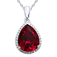 925 Sterling Silver 6.17ct Pigeon Blood Red Ruby Pendant Necklace Chain Fashion