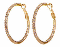 "Swarovski Elements Crystal 1 1/2"" Baha Hoop Earrings Gold Plated Authentic 7214w"