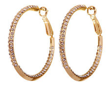 """Hoop Earrings Gold Plated Authentic 7214a Swarovski Elements Crystal 1 1/2"""" Baha"""