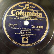 78rpm BING CROSBY darling je vous aime beacoup / brahms lullaby cradle song