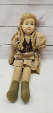 """Early 1900s Paper Mache Doll Made In Poland Cloth Body 11 1/2"""" Blond Hair"""