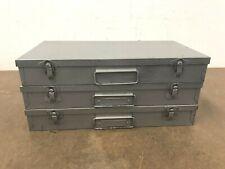 3 Vintage Metal Slide Case Lot brumberger organizer storage gray coin stamp bin