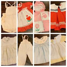 Vtg Infant Girls Dress Lot Smocked Embroidered Ruffles Sunsuit 6 9 12 Mo A26