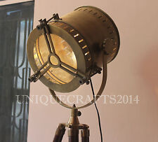 Classic Vintage Tripod Floor Lamp Nautical Antique Searchlight With Wooden Stand