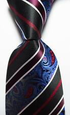 New Classic Striped Black White Blue Red JACQUARD WOVEN Silk Men's Tie Necktie