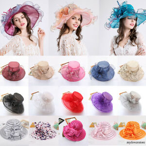 Women Wedding Tea Party Church Cap Ladies Noble Wide Brim Kentucky Derby Sun Hat