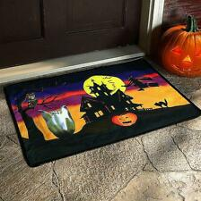Scary Sounds Witches Cackling Halloween Doormat Rug Owl Ghost Flying Witch