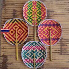 Thai Bamboo Hand Fan Handmade Woven Collectible Decor Gift Souvenir