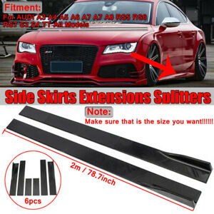 """78.7"""" Car Side Skirts Panel Extension For Audi A3 A4 A5 A6 A7 A8 TT S3 S4 RS5 UK"""