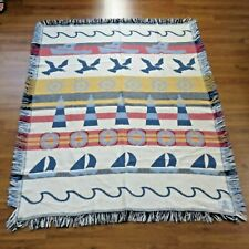 Vintage Crown Crafts Woven Throw Blanket USA Made Nautical Beach Sail Boat