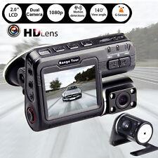"2"" Vehicle 1080P Car DVR Camera Video Recorder USB Dash Cam G-Sensor Dual Lens"