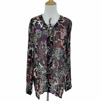Lucky Brand Floral Peasant Blouse Women's Size L Tie Neck Long Sleeve Sheer Top