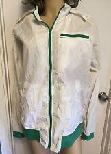 Vintage 80s RVCA Parachute Nylon Windbreaker Jacket White & Green Men's Small