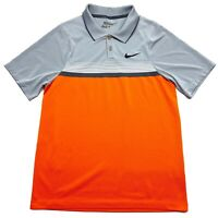 Nike Momentum Stripe Orange Gray Dri Fit Short Sleeve Golf Polo Shirt - Mens S
