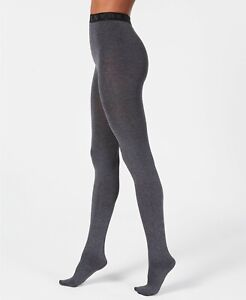 DKNY Control Top Cozy Opaque Tights Charcoal Grey Heather Size Small - $22 - NIP