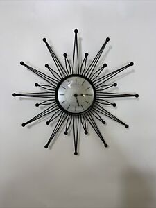 Sterling And Noble MCM Starburst Clock Works Mid Century Modern Atomic