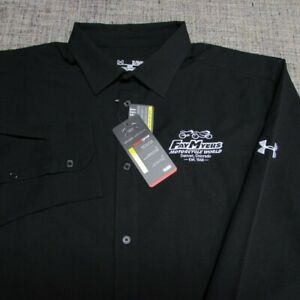 UNDER ARMOUR LONG SLEEVE POLY BUTTON UP SHIR--XL--MOTORCYCLE WORLD--NEW!TAGS!!