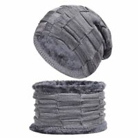 Winter Hat And Scarf Set For Men Women Scarves Knitted Fur Ski Warm Cap Beanie