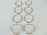 14 K Solid Gold, 10 mm to 18 mm Endless Hoop Earrings Small Gold Hoops