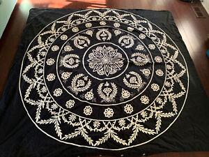 POTTERY BARN Embroidered HEAVY Duvet Cover + Sham, Black White, Size Full/Queen