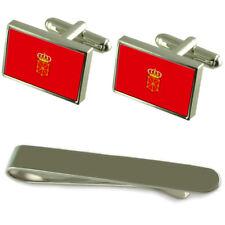 Navarre Flag Silver Cufflinks Tie Clip Engraved Gift Set