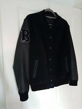 Topshop Men's Black Bomber Jacket With Faux Leather Sleeves Size UK12 / EUR 40