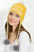 "KATE SPADE NEW YORK BIG APPLE SKI HAT WOOL POM POMS ""HELLO SUNSHINE"" YELLOW NWOT"
