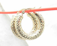"""1"""" Full Diamond Cut Thick Round Hoop Earrings REAL 10K Yellow Gold 5mm X 25mm"""