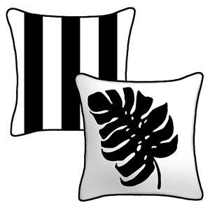"Cabana Stripe Palm Outdoor Toss Pillow 16"" Reversible UV Resistant Cushion Seat"