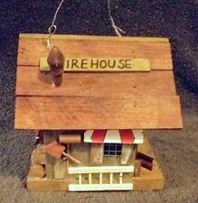 "Detailed Decorative Wood Firehouse Station Theme Bird House 6"" H Fireman Garden"