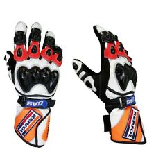 Men New Honda Repsol Motorbike Leather Racing Glove Pre-Curved Finger Glove GP
