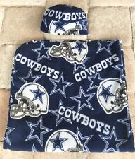 Dallas Cowboys Newborn Infant Baby Fleece Receiving Blanket & Hat Gift Set 0-3