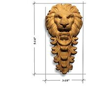 Hand carved Lion Head  Applique. Poplar and Cherry