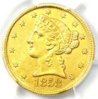 1858-C Liberty Gold Half Eagle $5 - PCGS AU Details - Rare Charlotte Gold Coin!